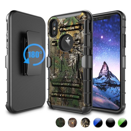 Njjex Cases Holster For iPhone Xs Max / iPhone Xs / iPhone XR / iPhone X, Heavy Duty Impact Rugged Camouflage Protective Case Cover with Holster Belt Clip - Camouflage Tree (Iphone Holster With Belt Clip)