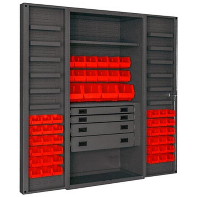14 Gauge 12 Door Shelves Lockable Cabinet with 52 Red Hook on Bins & 1 Adjustable Shelf & 4 Drawers, Gray - 36 x 24 x 72 in.