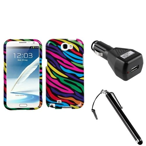 Insten Neon Zebra Hard Case+Car Charger Adapter+Stylus For Samsung Galaxy Note 2 II