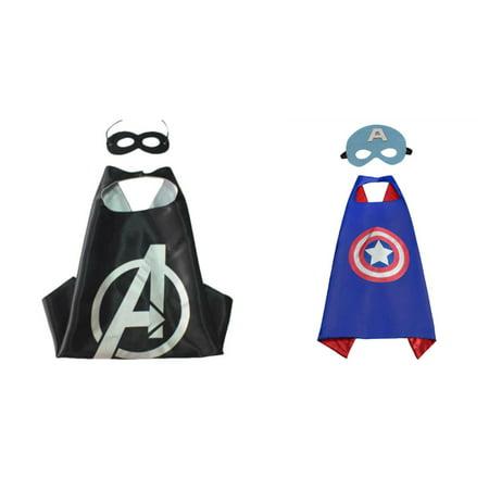 Avengers & Captain America Costumes - 2 Capes, 2 Masks w/Gift Box by Superheroes](Captain America Avengers Costume)