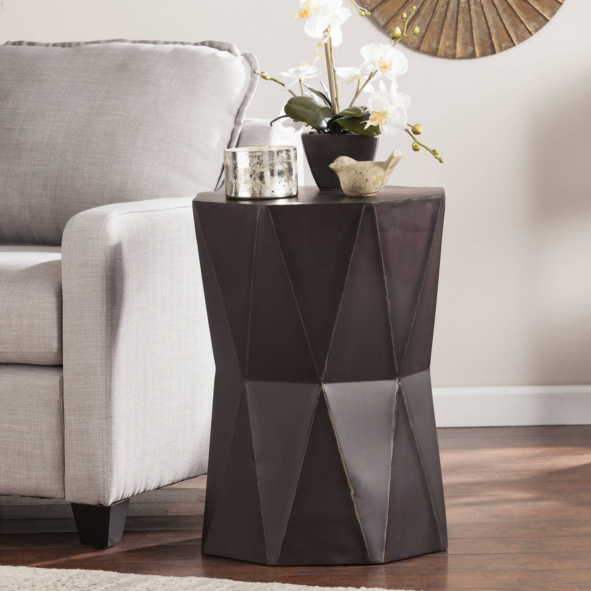 Southern Enterprises Trevale Accent Table, Antique Black