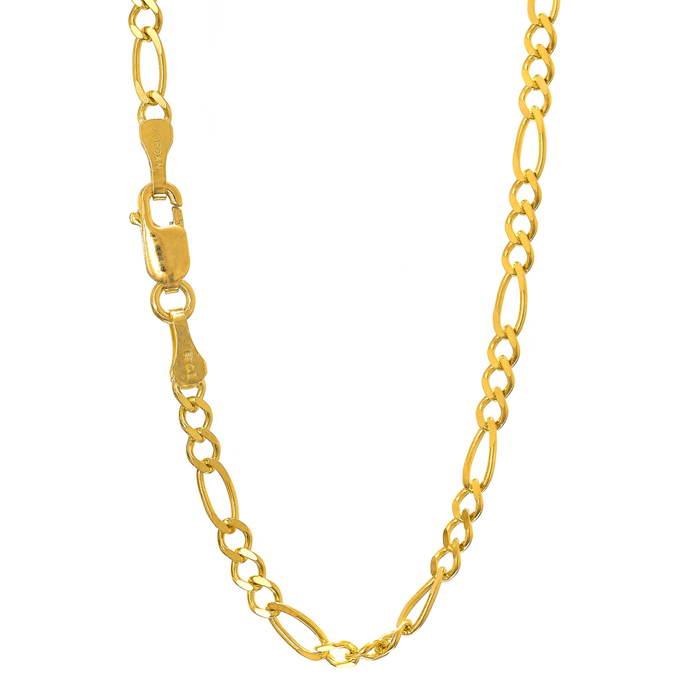 """14k Solid Gold Yellow Or White 3 mm Figaro Chain Bracelet Necklace 7"""" 8"""" 16"""" 18"""" 20"""" 22""""... by JewelStop"""