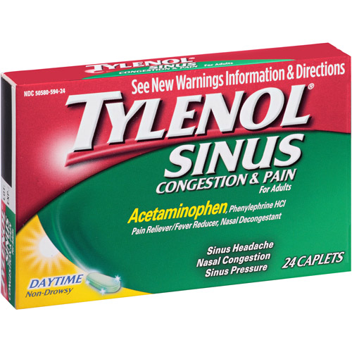 Tylenol Sinus Congestion & Pain Daytime Caplets, 24 count
