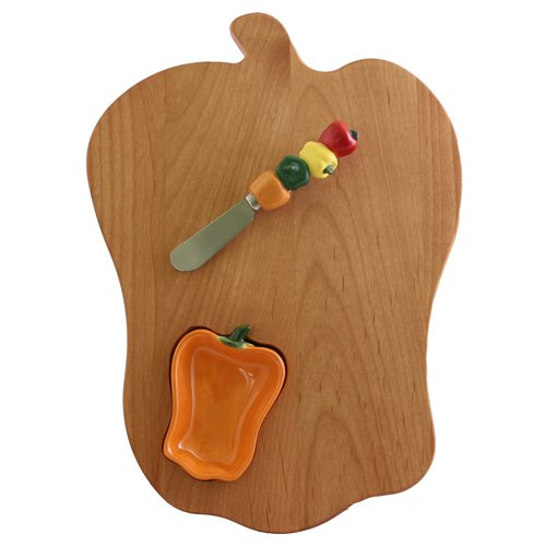 Out of the Woods of Oregon Bell Pepper Board with Pepper Bowl & Spreader