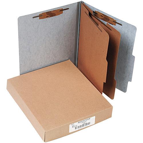 ACCO Brands Presstex 20-Point Classification Folders, Letter, Gray, Box of 10