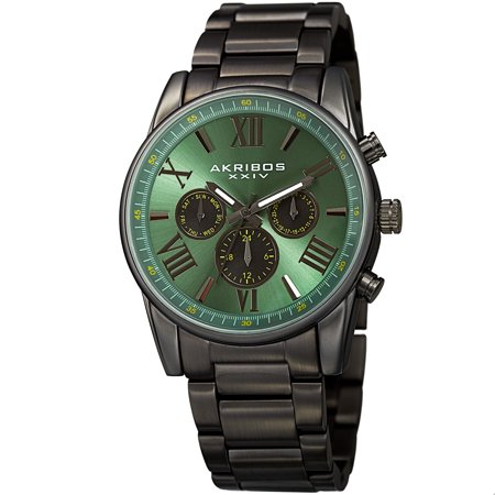 - Men's Swiss Quartz Multifunction Dual Time Green Bracelet Watch