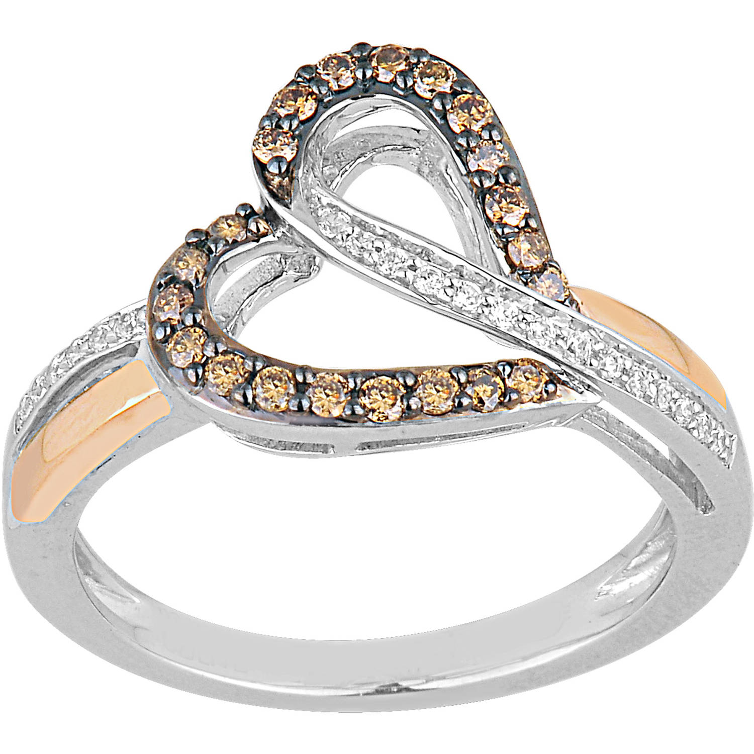 Champagne and White Diamond Sterling Silver and 10kt Rose Gold Heart Ring