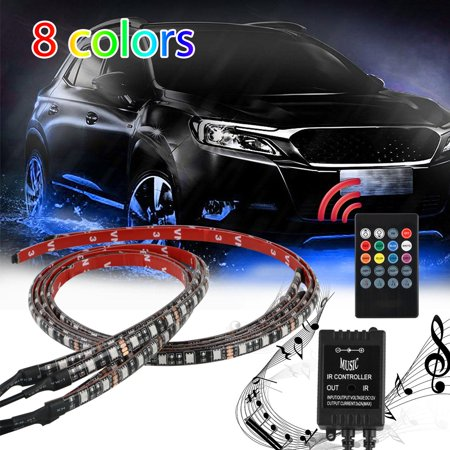 EEEkit Car Underglow Kit Lighting LED 4 x 8 Color RGB Under Car Underbody Neon LED Lights Strip Tubes Waterproof LED Tubes Sound Active with Remote Control (Controllable Led Neon Tube)