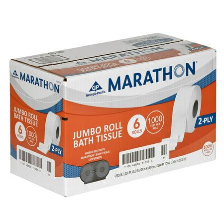 Wht Bath Tissue - Marathon Jumbo Roll Bath Tissue - 6 rolls