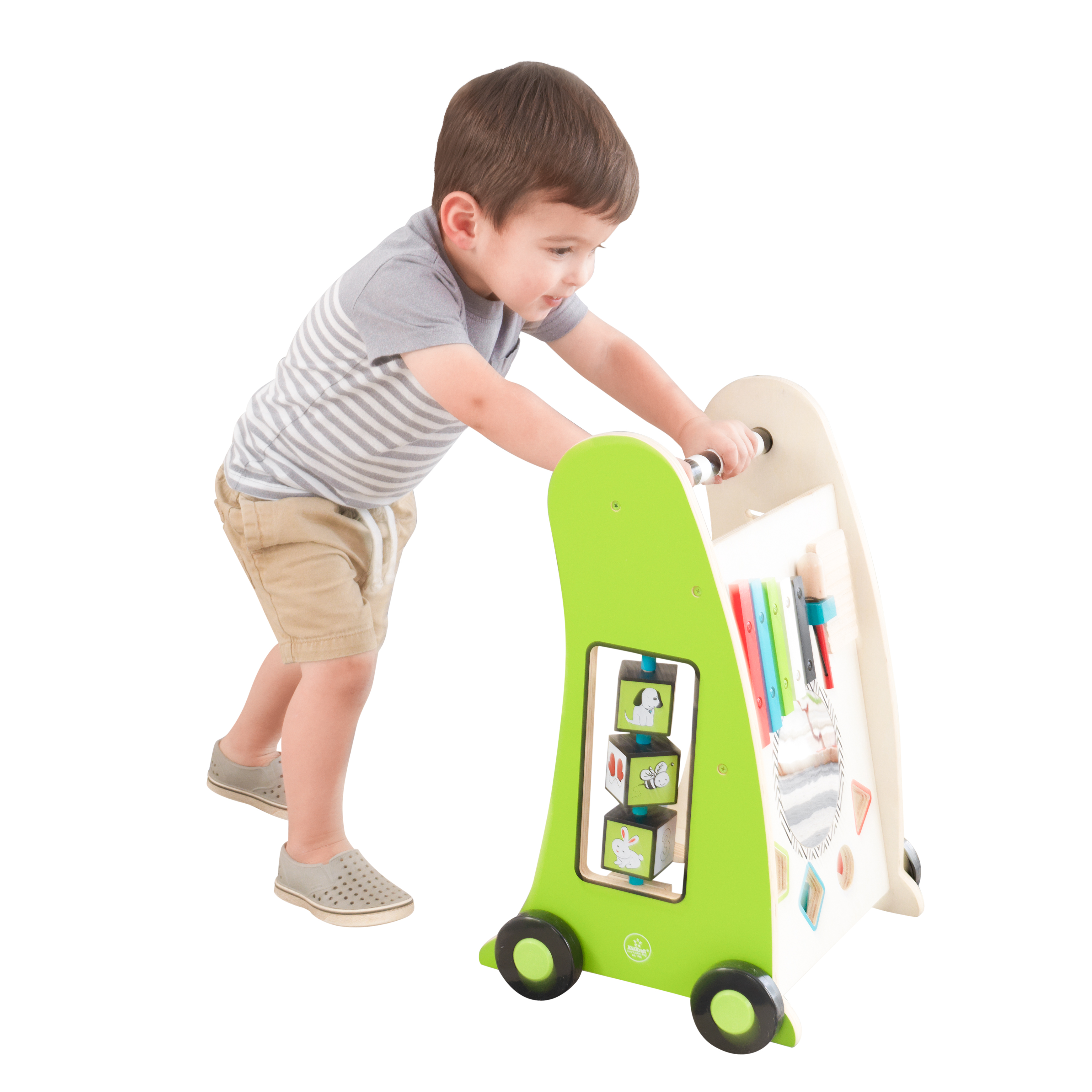 KidKraft Toddler Push Along Play Cart - Colorful Toys for Kids, Musical Toys, Walking Toys, Interactive Multi Use Walking Baby Toy