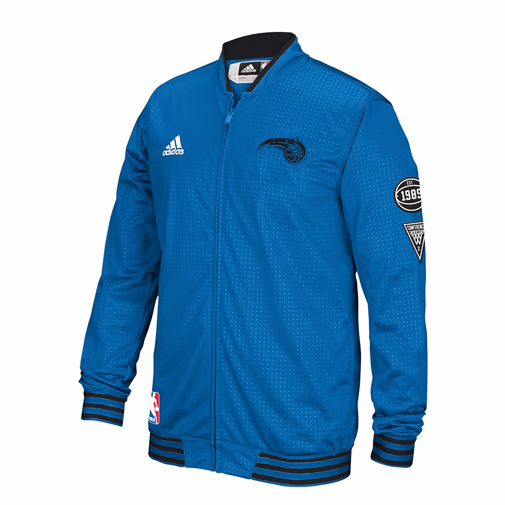Orlando Magic NBA Adidas Blue Authentic On-Court Warm Up Jacket w  Patches Jacket For Men by Adidas