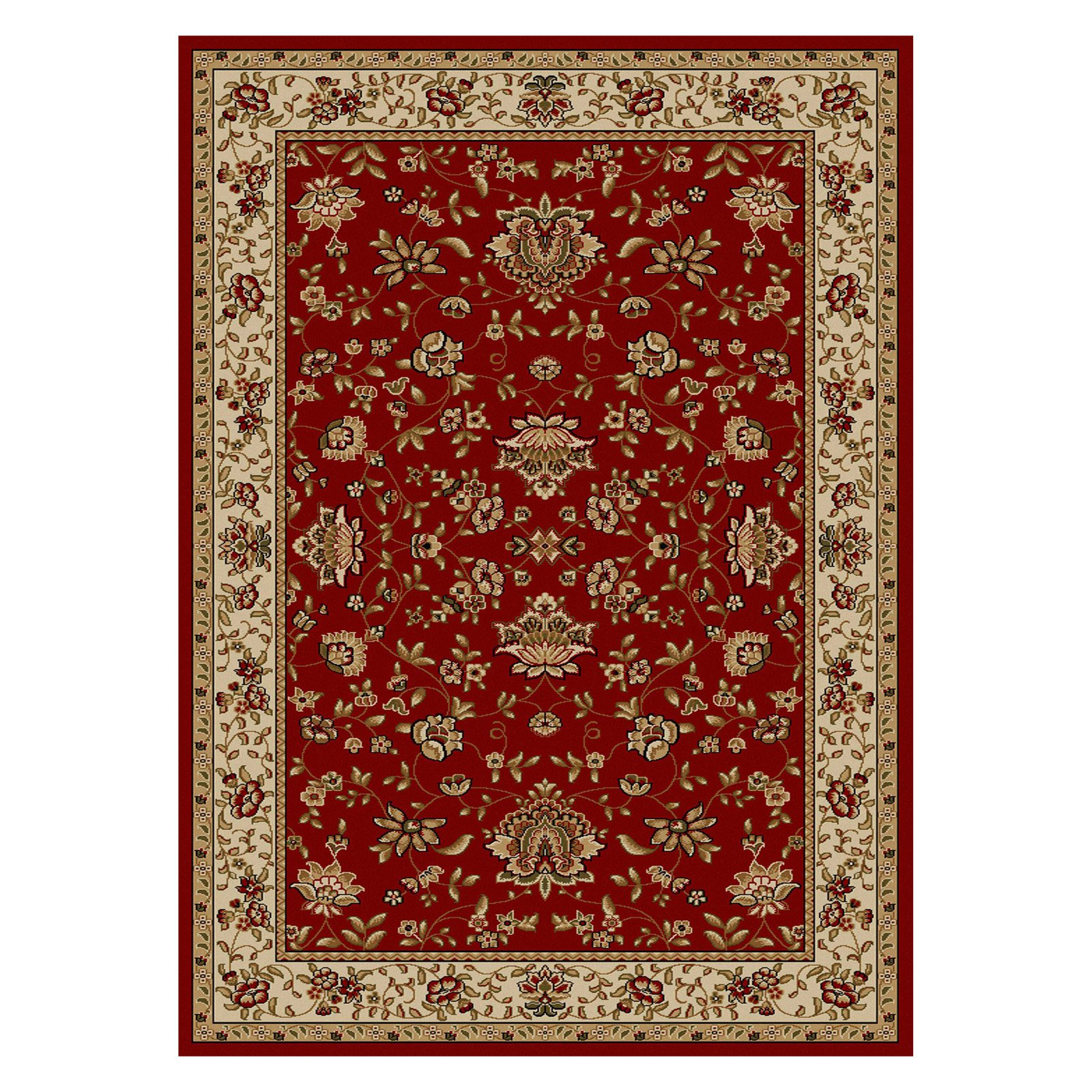 Radici Usa Como Area Rugs - 1597 Traditional Oriental Red Italian Bordered Floral Leaves Rug