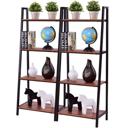 Costway 2PCS 4-Tier Ladder Storage Book Shelf Wall Bookcase Bundle Flower (Commercial Wooden Walnut Ladder)