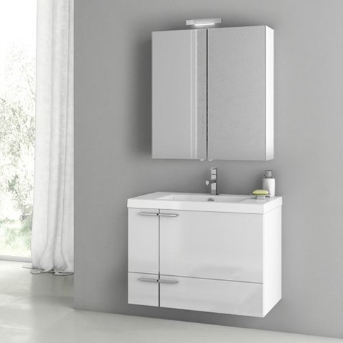 ACF by Nameeks ACF ANS25-GW New Space 31-in. Single Bathroom Vanity Set - Glossy White