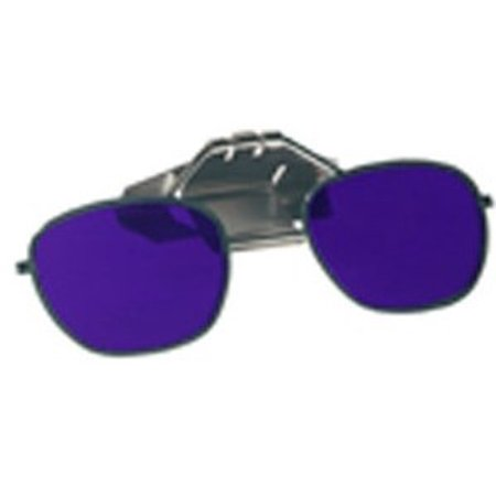 Cobalt Blue Glass Clip-On Flip-Up Spectacles - Full Lens - Shade #5 - To Fit On Hard (Construction Sunglasses)