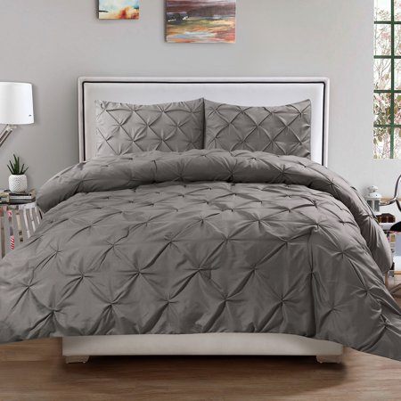 Anaheim 3 Piece Set - Luxury 3 Piece Pinch Pleat Pintuck Polyester Duvet Cover and Pillow Sham Set