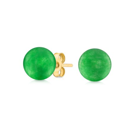 Simple Gemstone Ball Stud Earrings For Women For Teen 14K Real Yellow Gold 6mm More Birthstone Colors