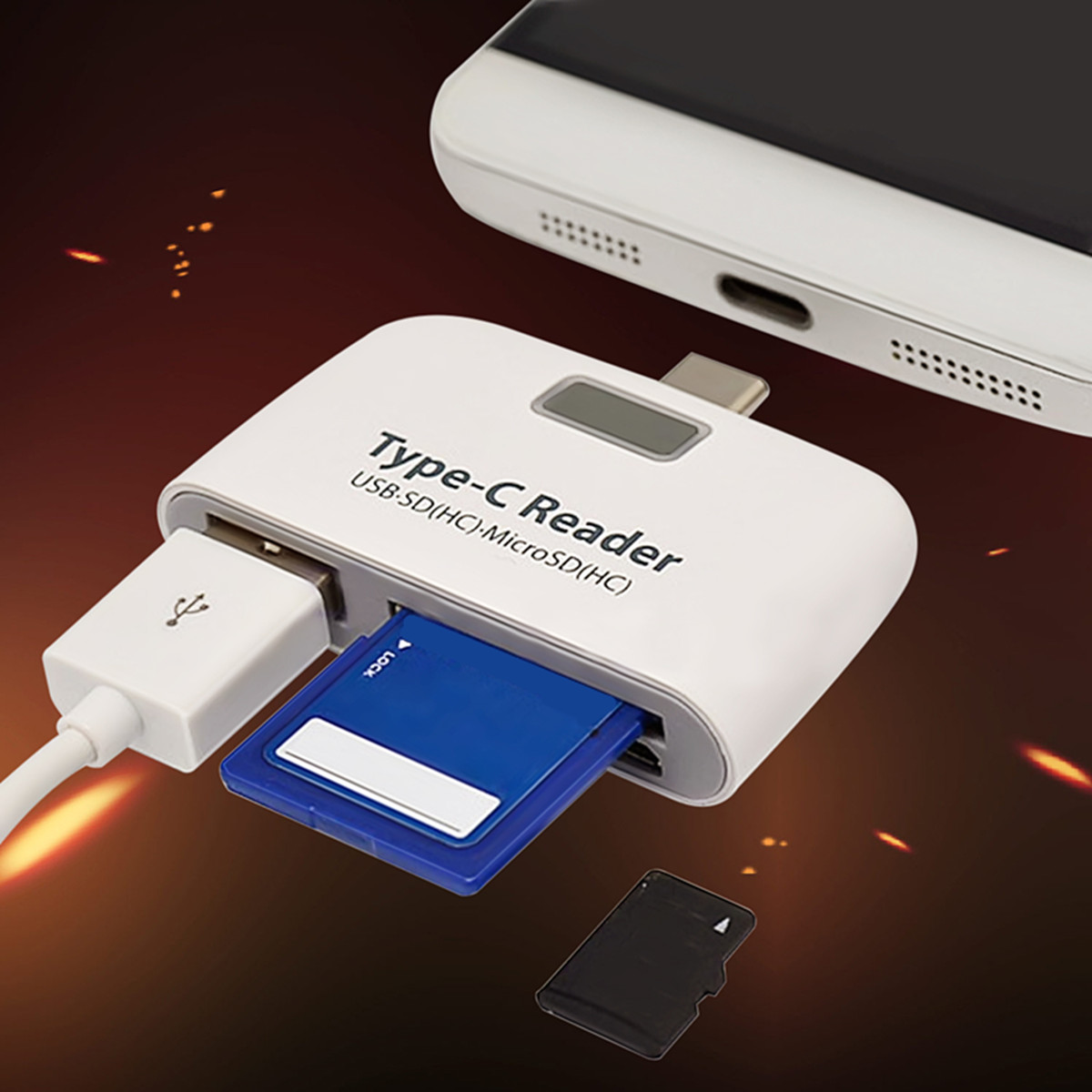 3in1 OTG USB 3.1 Type C to USB TF Micro SD Card Reader Adapter For Phone Tablet