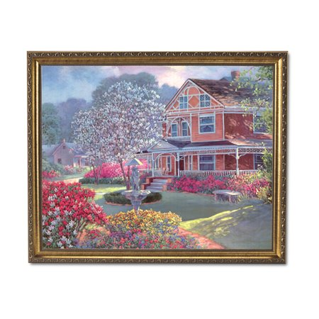 Victorian House Flowers Garden Contemporary Wall Picture Gold Framed Art (House Of Troy Contemporary Picture Frame)