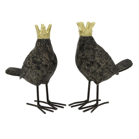 Three Hands 2 Piece Resin Crowned Birds Set - Decorative Crowns