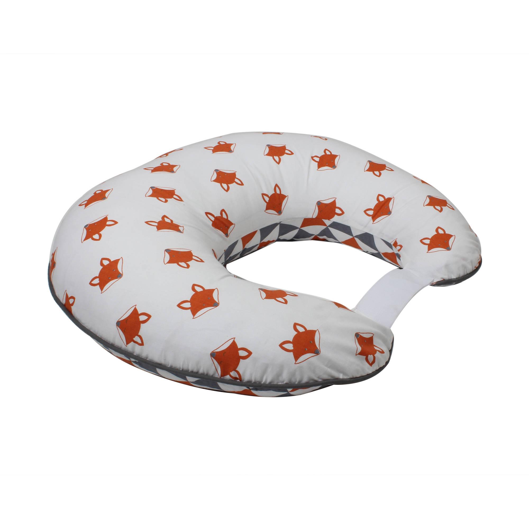 Bacati Playful Foxs Orange/Gray Nursing Pillow
