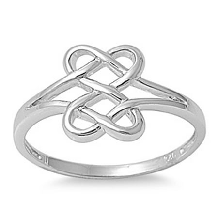 Sterling Silver Women's Shiny Celtic Knot Ring (Sizes 3-15) (Ring Size 3) - Angry Birds Halloween 3-15 Three Stars