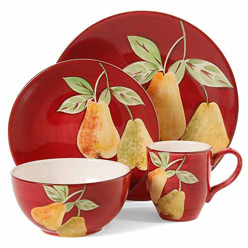Gibson Home Fruitful Pears 16 Piece Dinnerware Set