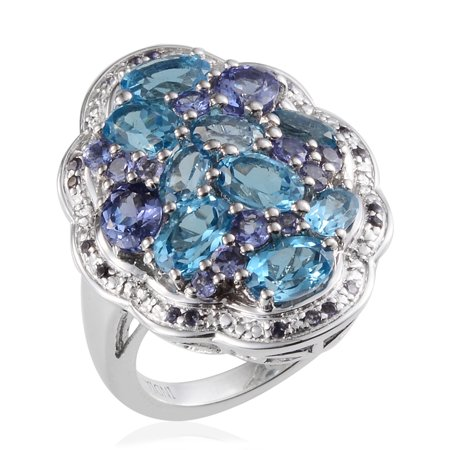 Blue Topaz Multi Gemstone Rhodium Plated Silver Fashion Ring For Women 4.7 Cttw Size (Blue Topaz Fashion Ring)