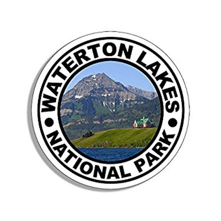 Round WATERTON National Park Sticker Decal (travel rv hike alberta canada) Size: 4 x 4