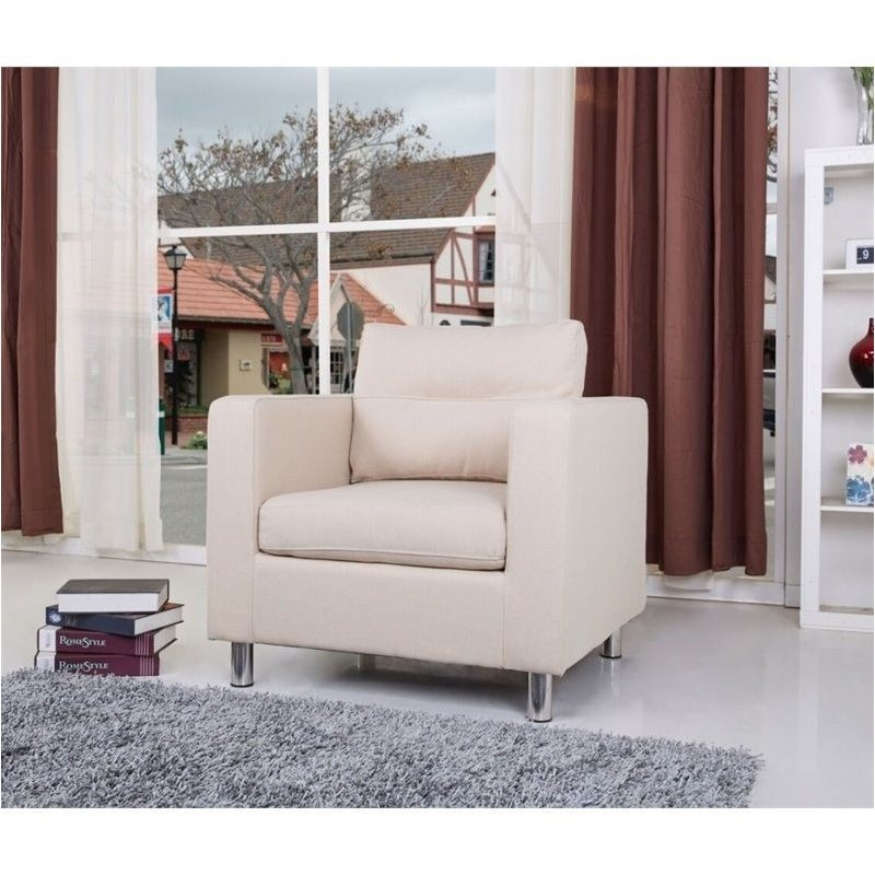 Brika Home Fabric Accent Chair in Beige