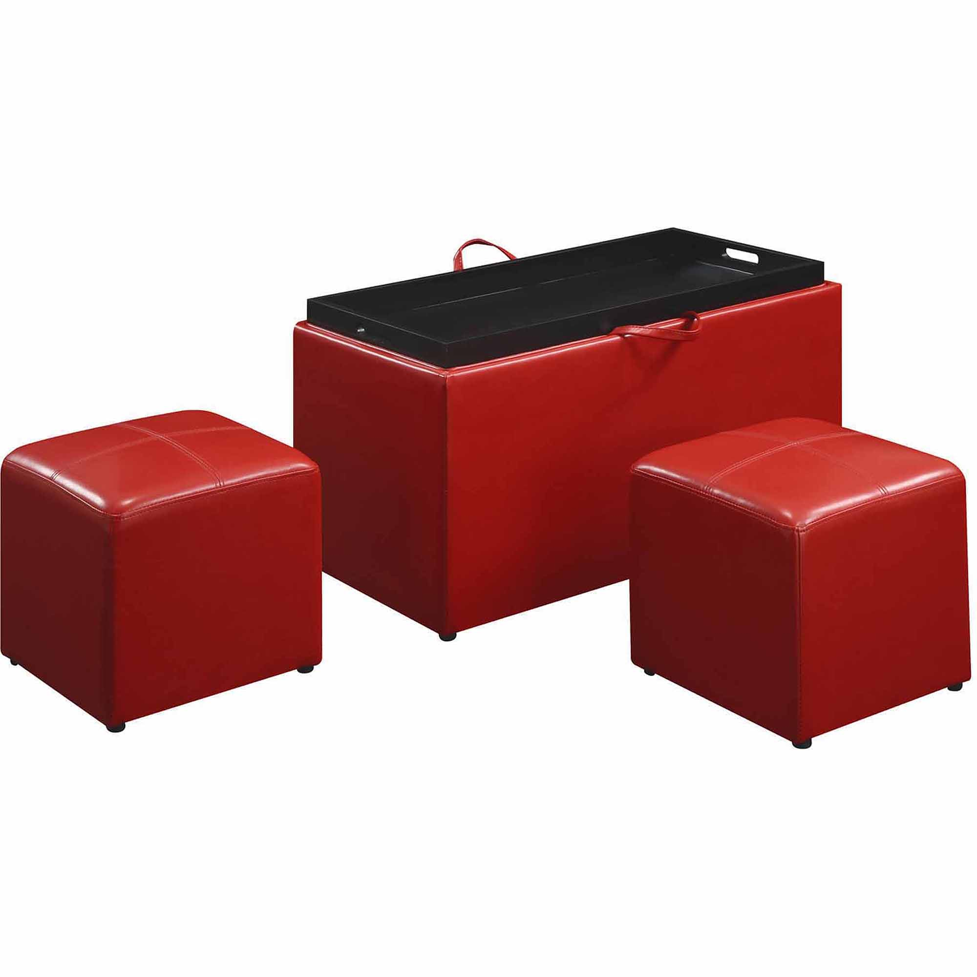 faux leather storage bench with 2 side ottomans multiple colors walmartcom