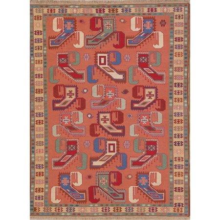 - Flat-Weave Geometric Paisley Rose Color 5x7ft Kilim Shiiraz Oriental Rug