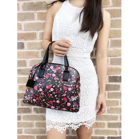 Kate Spade Cameron Street Boho Lottie Satchel Floral Black Pink Multi - Pink Kate Spade