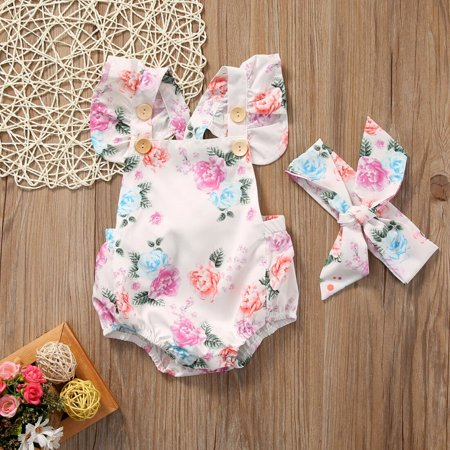 2PCS Newborn Baby Girl Floral Romper + Headband Jumpsuit Bodysuit Outfit Set