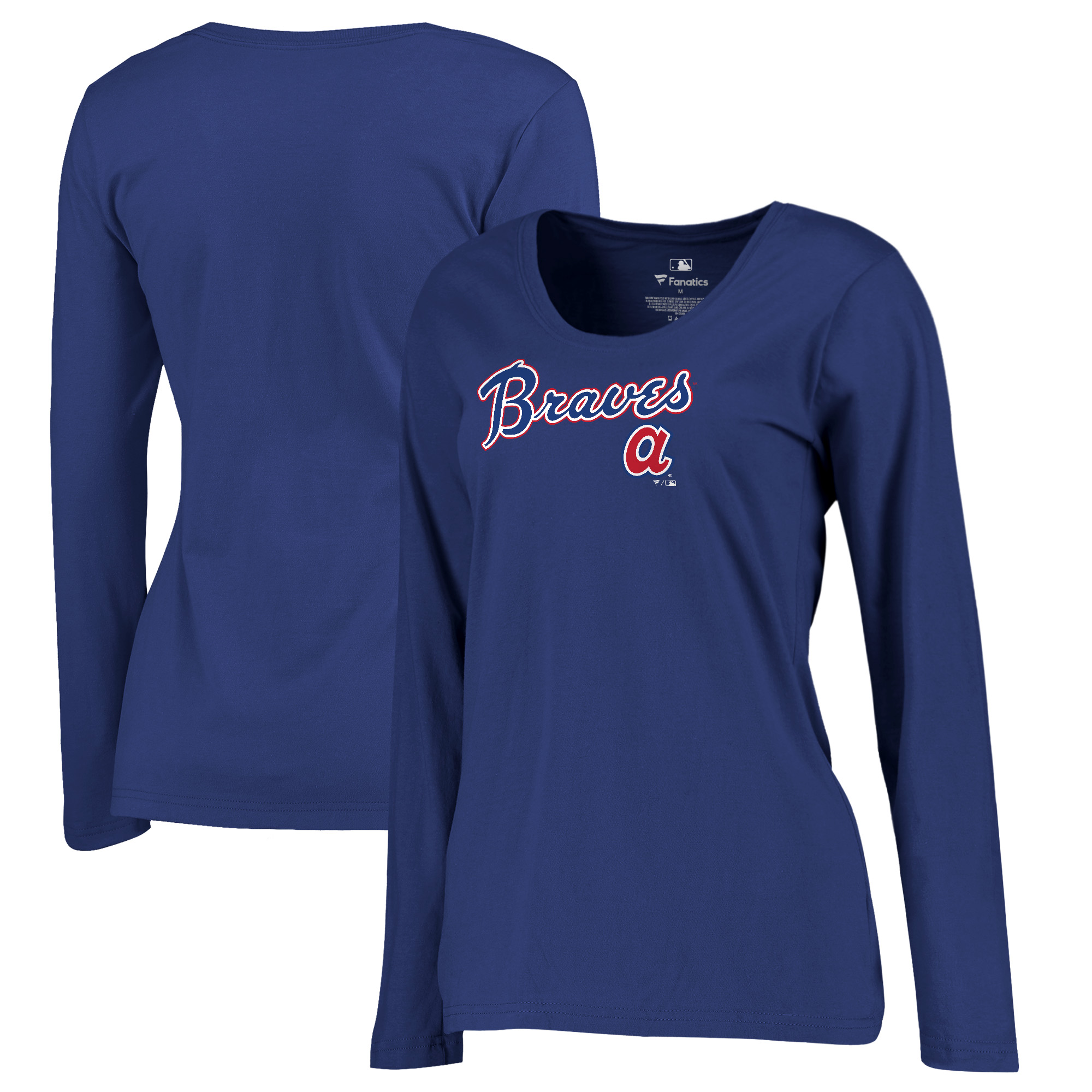 Atlanta Braves Fanatics Branded Women's Plus Size Cooperstown Collection Wahconah Long Sleeve T-Shirt - Royal