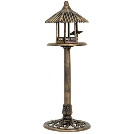 Best Choice Products Standing Pedestal Bird Feeder, Outdoor Decor for Garden, Patio, Backyard w/ Gazebo Top, Bird, Antique