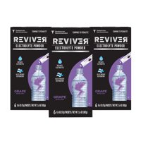 Reviver Grape Electrolyte Powder Packets, 3 Pack (6 Packets per Box)
