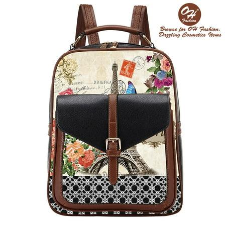 Handbag Backpack European Dream Paris Design Rucksack Travel Bag Color Black with City