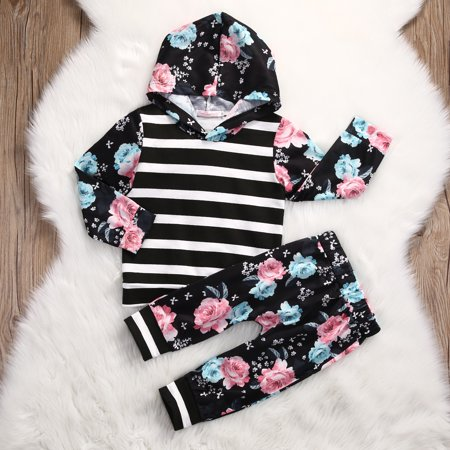Kids Toddler Baby Girl Clothes Tops Hoodies Hooded Long Sleeve Sweatshirt Pants 2pcs Cute Girls Clothing Outfits - Diy Cute Outfits