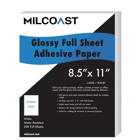 "Milcoast Full Sheet 8.5"" x 11"" Shipping Sticker Paper Adhesive Labels Glossy Water Resistant for Laser or InkJet Printer"