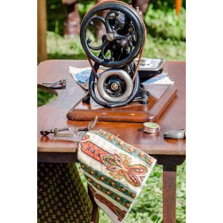 Antique Sewing Machine with Quilt Blocks Journal: 150 Page Lined Notebook/Diary