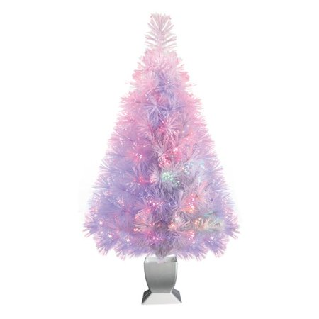 Holiday Time 32-Inch White Fiber Optic Tree 83 Tips with Continuously Changing (Holiday Time 32 Inch Fiber Optic Christmas Tree)