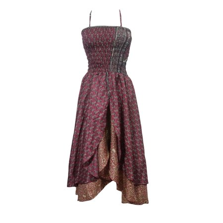 Mogul Womens Dress Two Layer Smocked Bodice Uneven Hem Gothic Dresses S