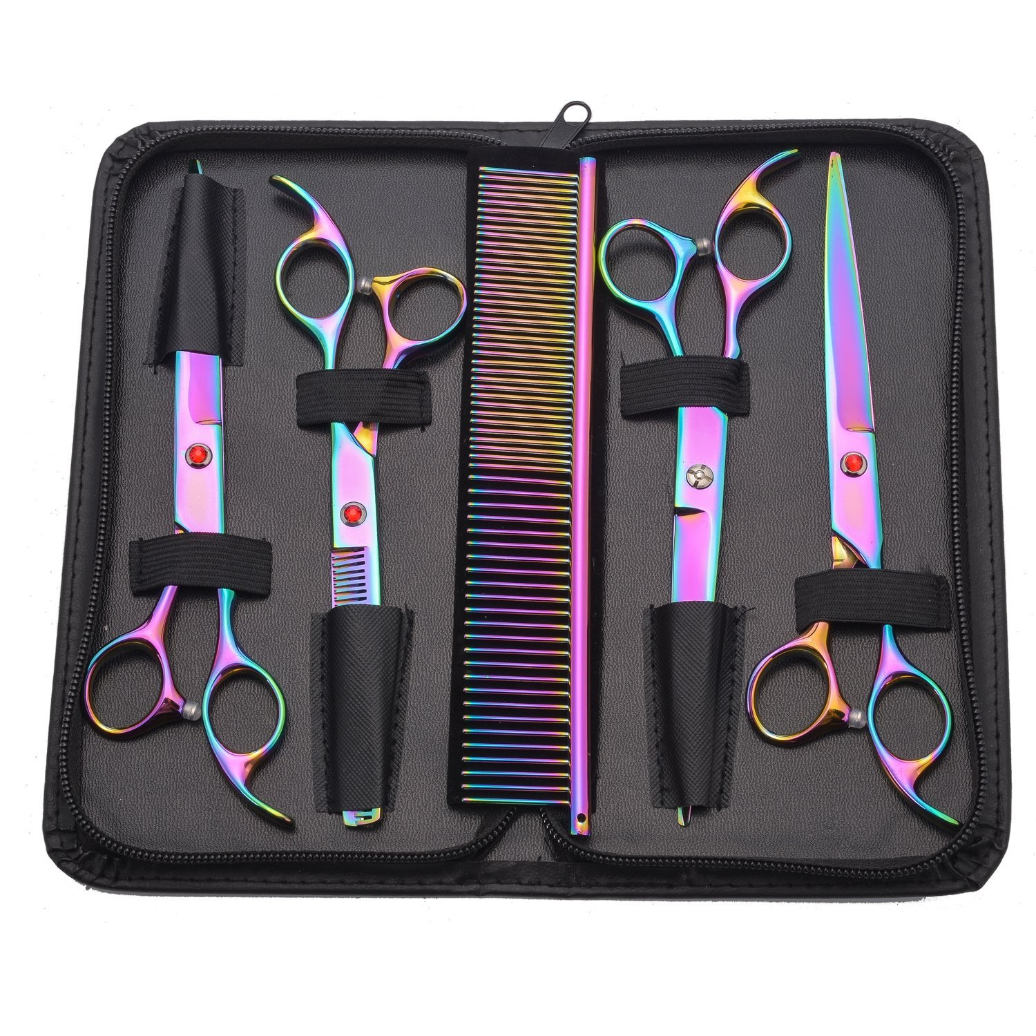 5 Pieces Pet Dog Grooming Scissors Tools Kit Straight Curved Rainbow