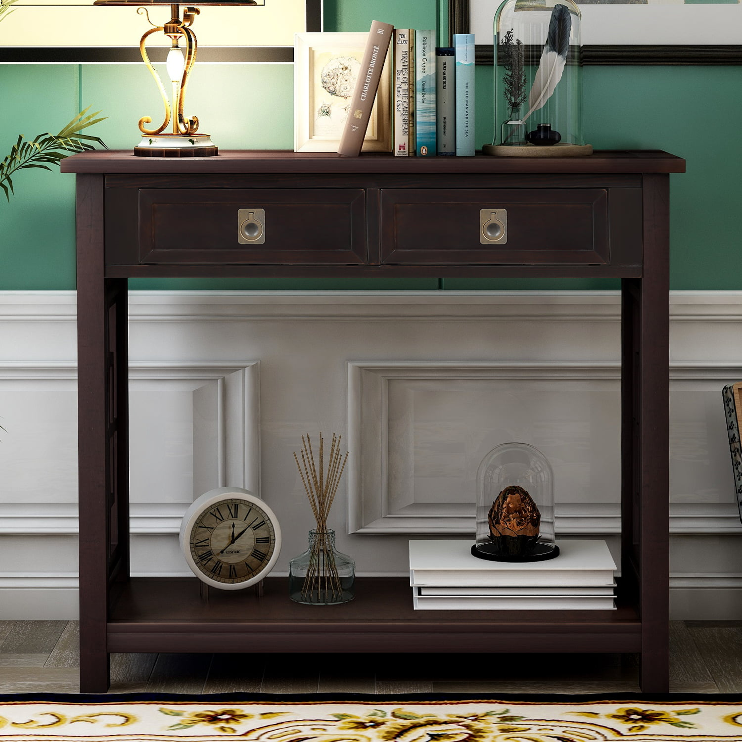 Entryway Table with Storage Drawer, BTMWAY Farmhouse Narrow
