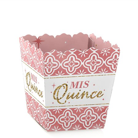 15 Anos Party Decorations (Mis Quince Anos - Party Mini Favor Boxes - Quinceanera Sweet 15 Birthday Party Treat Candy Boxes - Set of)