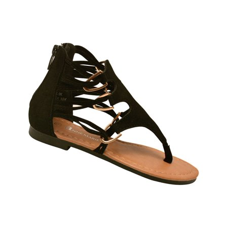1618b53823a2 Anne Marie Little Girls Black Strappy T-Bar Gladiator Sandals 10 Toddler -  Walmart.com