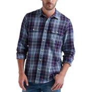 Mens Shirt Plaid Print Pockets Button Up XL