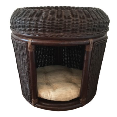 Rattan Wicker Home Furniture Pets House Hooded Dog Bed