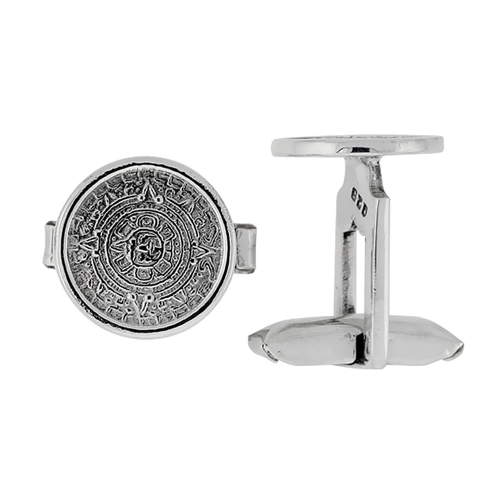 Sterling Silver Aztec Calendar Round Cufflinks Swivel Bar, 5/8 inch wide
